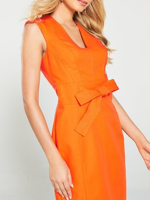 Karen Millen Tie Waist Contour Dress - Orange