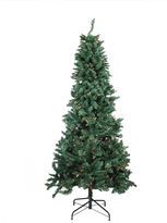 Asstd National Brand 9' Pre-lit Slim Pine Artificial Christmas Tree with Multi-Color Lights