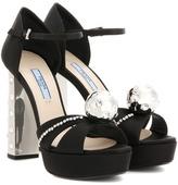 Prada Embellished satin platform sandals