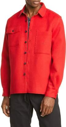 IKE Ovadia Military Wool Blend Flannel Overshirt