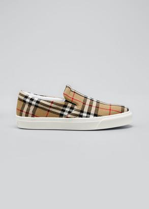 Burberry Men's Thompson Vintage Check Slip-On Sneakers