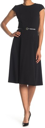 Tommy Hilfiger Cap Sleeve Belted Fit and Flare Dress