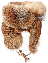 Crown Cap Men's Fur & Leather Trapper Hat-RED