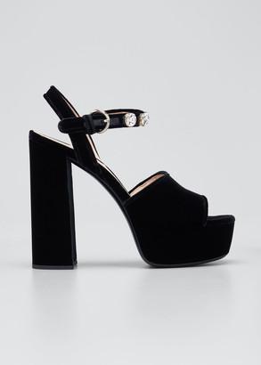 Miu Miu 135mm Crystal Stud Velvet Platform Sandals