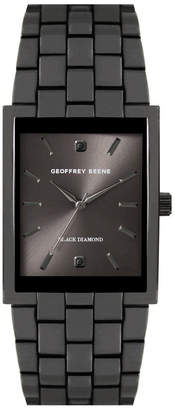 Geoffrey Beene Rectangular Case Genuine Black Diamond Dial Bracelet Watch