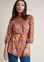 ModCloth Floral Tunic with 3/4 Sleeves in M