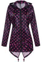 Meaneor Women's Long Sleeve Fishtail Dot Print Cute Raincoat Waterproof Jacket Black and Rose Red M
