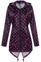 Meaneor Women's Long Sleeve Fishtail Dot Print Cute Raincoat Waterproof Jacket Gray XL