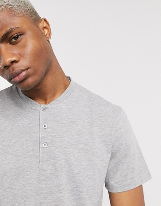 ASOS DESIGN t-shirt with grandad neck in grey marl