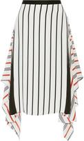 Tome Asymmetric striped silk skirt