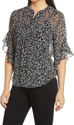 Vince Camuto Speckled Vines Flutter Sleeve Blouse