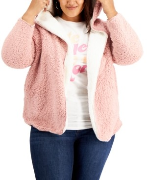 Full Circle Trends Trendy Plus Size Reversible Fleece Cardigan