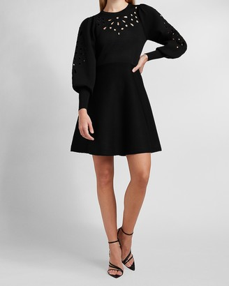 Express Eyelet Lace Fit And Flare Sweater Dress