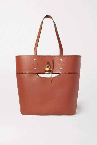 Chloé Aby Medium Smooth And Textured-leather Tote - Brown