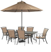 "Paradise Outdoor 7 Piece Set: 84"" x 42"" Dining Table and 6 Dining Chairs"