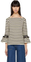 Marc Jacobs White and Black Striped Pom Pom T-Shirt