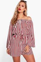 boohoo Plus Katie Striped Off The Shoulder Playsuit berry