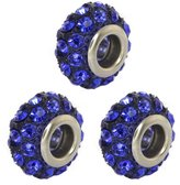 Gem Stone King Set of Three Round 14mm Pave Crystal Ball Fits with Beads and Charms