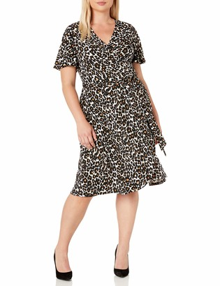 Donna Morgan Women's Plus Size Matte Jersey Floral Printed Faux Wrap Dress