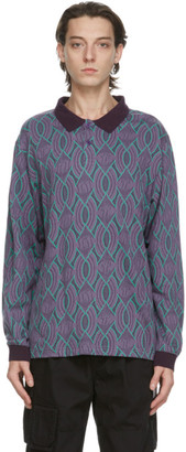 This Is Never That thisisneverthat Purple and Green Aztec Long Sleeve Polo