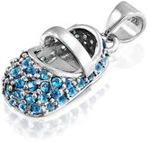 Bling Jewelry Simulated Topaz CZ Baby Shoe Pendant 925 Silver
