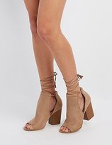 Charlotte Russe Cut-Out Peep Toe Ankle Booties