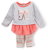 Buster Brown Light Gray Heather & Calypso Coral Bow Top & Leggings - Infant