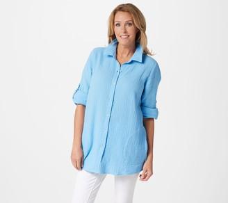 Joan Rivers Classics Collection Joan Rivers Crinkle Texture Long-Sleeve Boyfriend Shirt