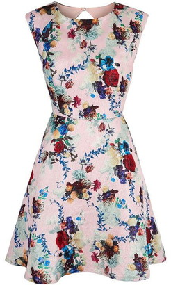 Yumi Winter Floral Print Cap Sleeve Dress