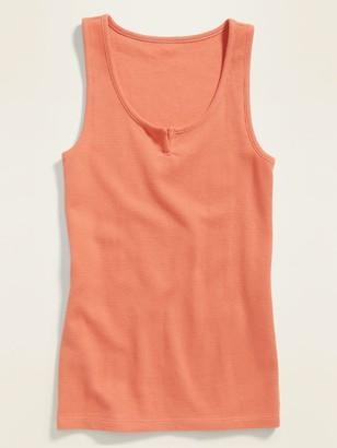 Old Navy Slim-Fit Thermal-Knit Split-Neck Tank Top for Women