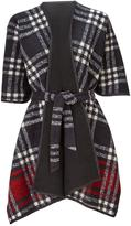 Very Belted Fleece Check Cape