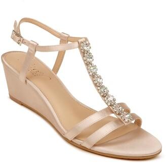 Badgley Mischka Farah Crystal Embellished Wedge Sandal