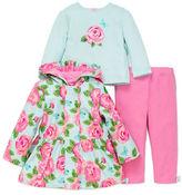 Little Me Baby Girls Girl's Three-Piece Hooded Peplum Jacket, Flower-Printed Top and Pants Set