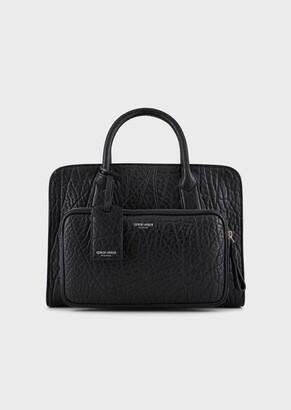 Giorgio Armani Hammered Leather Briefcase