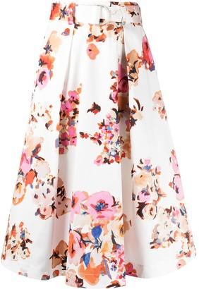 MSGM Floral Print Belted Full Skirt