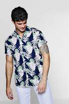 Short Sleeve Floral Revere Collar Shirt