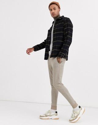 Asos DESIGN wool mix regular check overshirt in brown