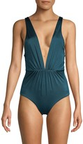 Tori Praver Swim Andie Plunge Lace-Up One-Piece Swimsuit