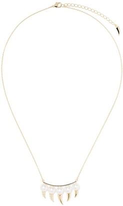 Tasaki 18kt yellow gold Danger Fang Akoya pearl and diamond necklace