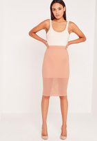Missguided Textured Midi Skirt Nude