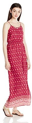 PINK ROSE Women's Maxi Dress with Neckline Looped Details and Criss Cross Back