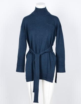 Lamberto Losani Blue Wool, Silk and Cashmere Blend Women's Long Sweater