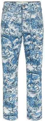 Off-White Floral-Print Straight-Leg Jeans