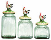 Glass Rooster Canisters, Asst. of 3