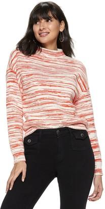 Nine West Petite Funnel Neck Drop Shoulder Pullover Sweater