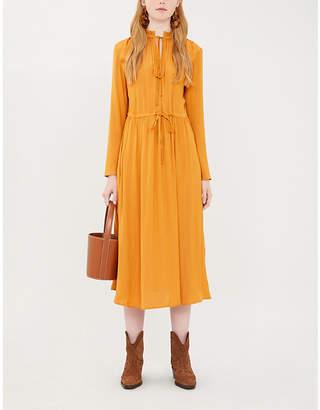 Maje Drawstring-waist satin dress