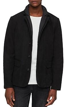 AllSaints Survey Classic Fit Layered-Collar Leather Blazer