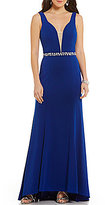 Masquerade Low Cut Deep V-Neck Beaded Waist Long Dress