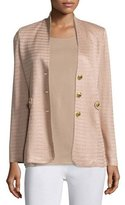 Misook Textured Gold-Button Jacket, Sand
