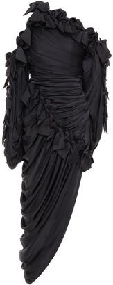 Zimmermann Asymmetric Cold-shoulder Bow-embellished Silk-satin Midi Dress